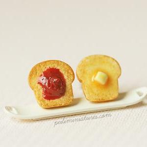 Toast Earrings - Butter and Strawbe..